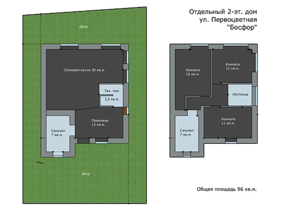 Планування 3-кімнатної квартири в Таунхаус Провулок Перова 108 м², фото 133167