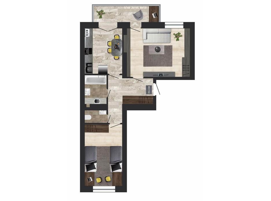 Планировка 2-комнатной квартиры в ЖК Кленовый Парк 61.8 м², фото 133389