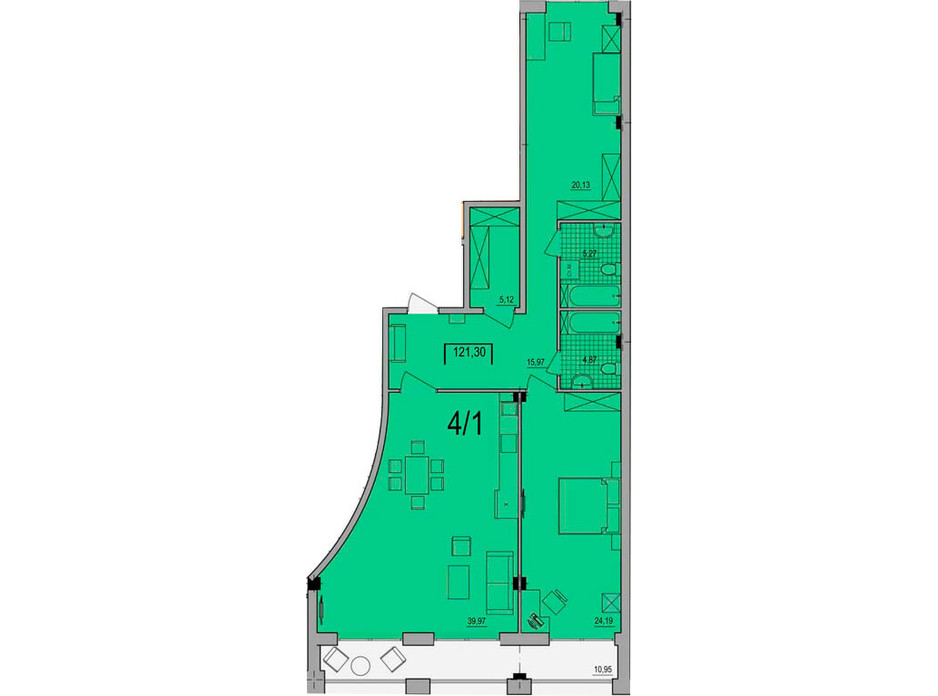 Планування квартири студії в ЖК Сomfort City 121.3 м², фото 133642