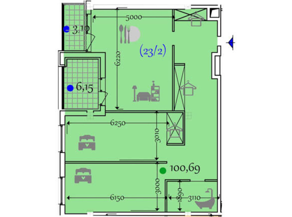 Планування 2-кімнатної квартири в ЖК Сomfort City 100.69 м², фото 133645