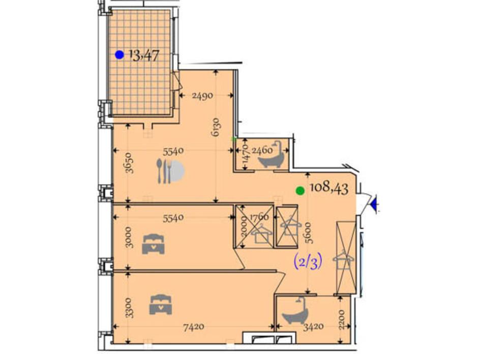 Планировка 2-комнатной квартиры в ЖК Сomfort City 108.43 м², фото 133648