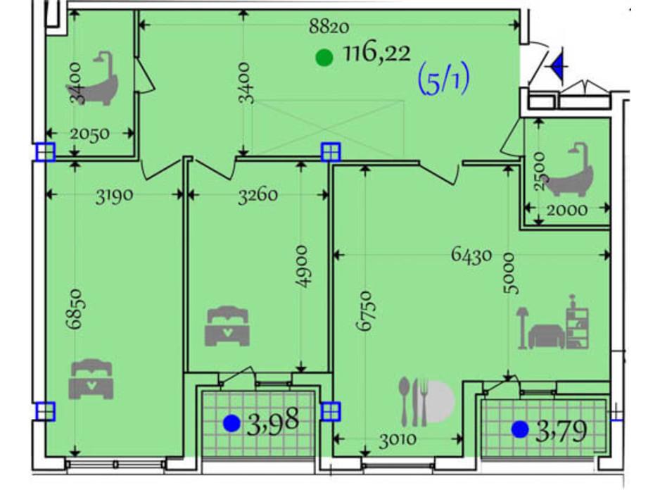 Планировка 2-комнатной квартиры в ЖК Сomfort City 116.22 м², фото 133649