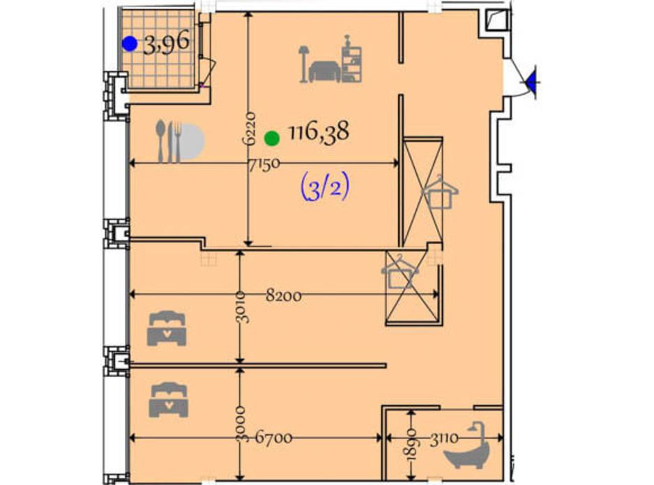 Планировка 2-комнатной квартиры в ЖК Сomfort City 116.38 м², фото 133650