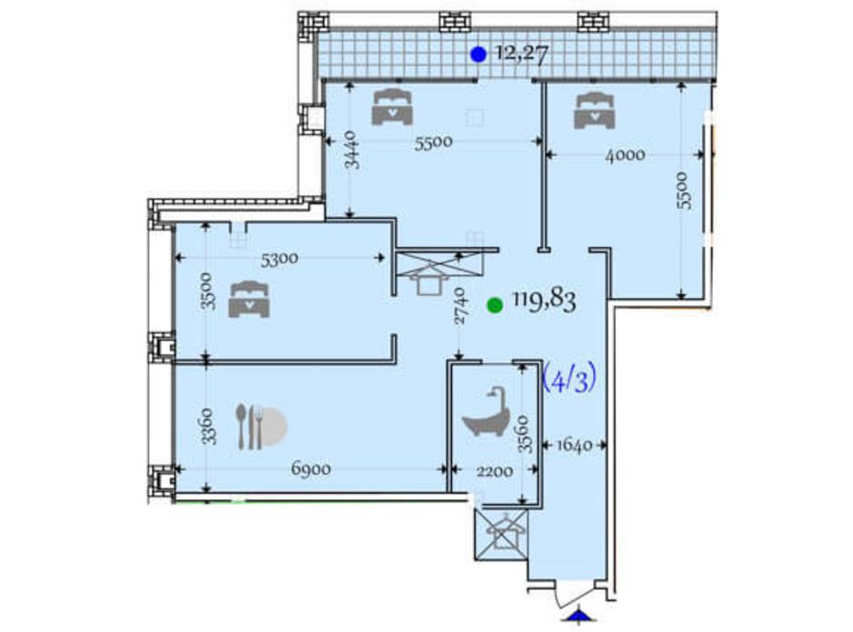 Планировка 2-комнатной квартиры в ЖК Сomfort City 119.83 м², фото 133651