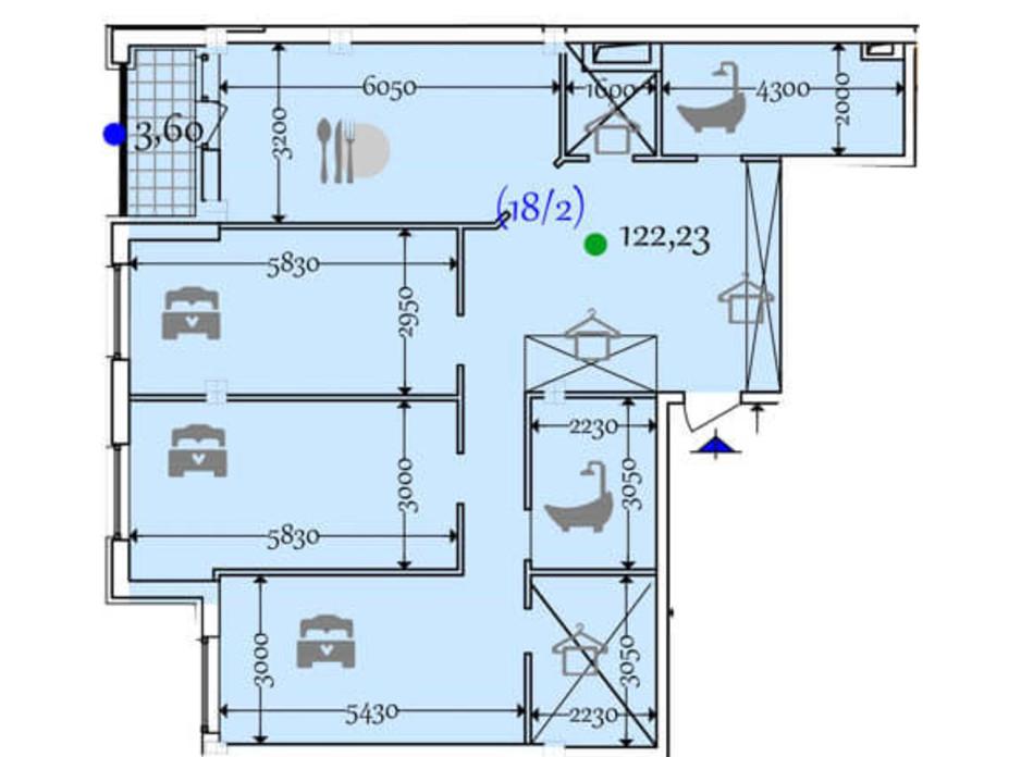 Планировка 2-комнатной квартиры в ЖК Сomfort City 122.23 м², фото 133652