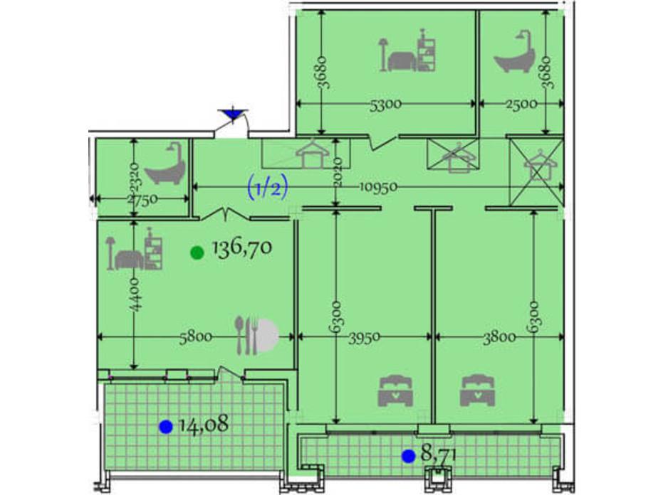 Планировка 2-комнатной квартиры в ЖК Сomfort City 136.7 м², фото 133655