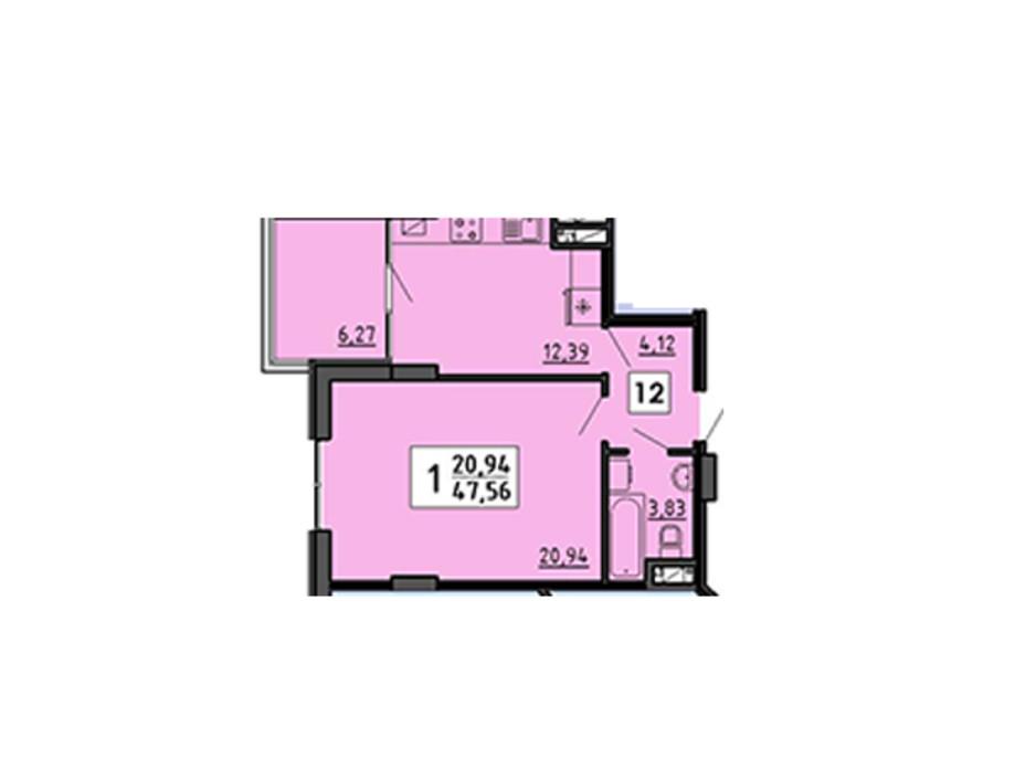 Планування 1-кімнатної квартири в ЖК по вул. Миру 4В 47.56 м², фото 134326