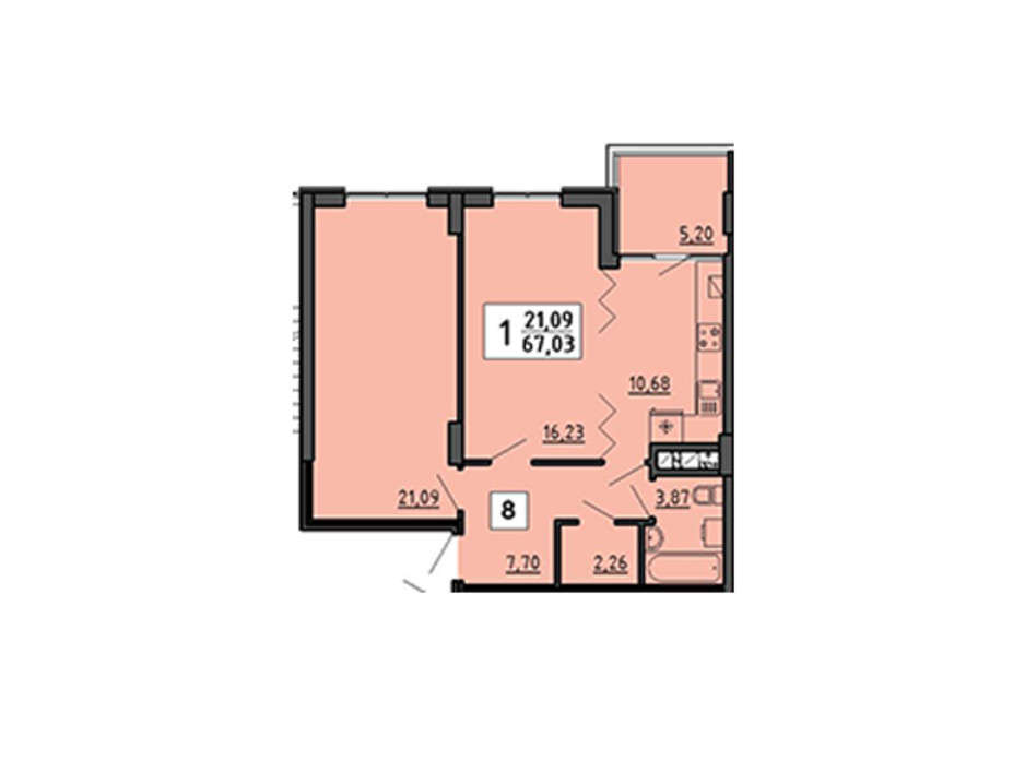 Планування 1-кімнатної квартири в ЖК по вул. Миру 4В 67.03 м², фото 134327