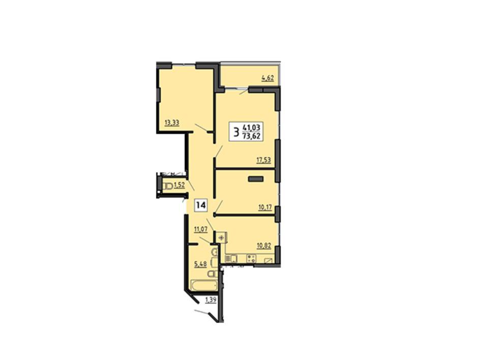 Планування 3-кімнатної квартири в ЖК по вул. Миру 4В 73.62 м², фото 134328