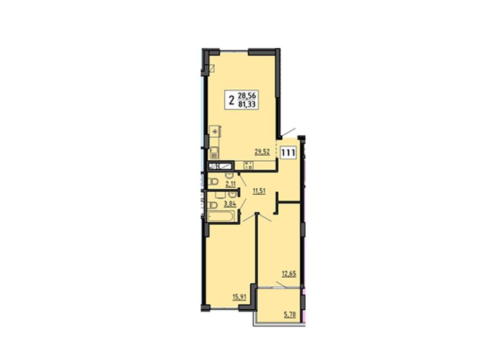 Планування 2-кімнатної квартири в ЖК по вул. Миру 4В 81.33 м², фото 134329