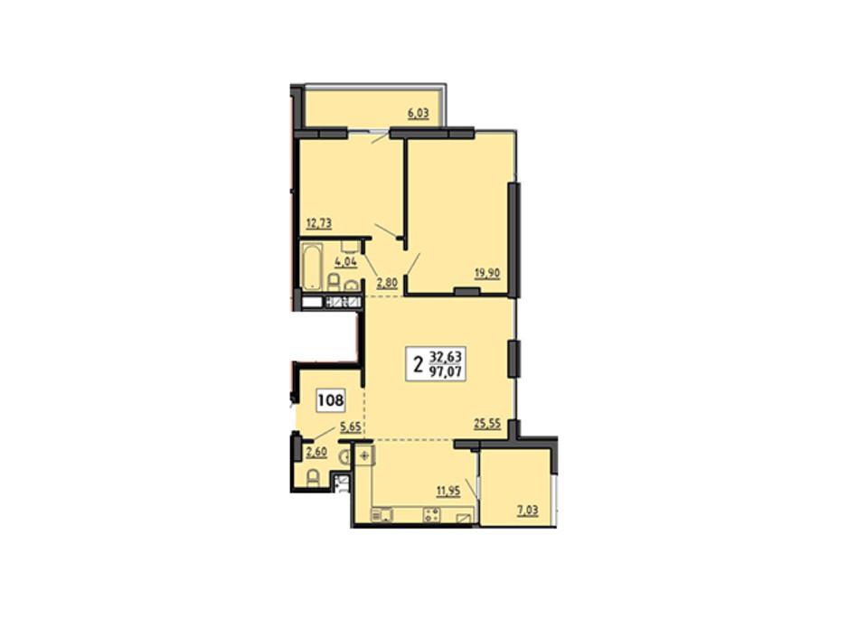 Планування 3-кімнатної квартири в ЖК по вул. Миру 4В 97.07 м², фото 134330