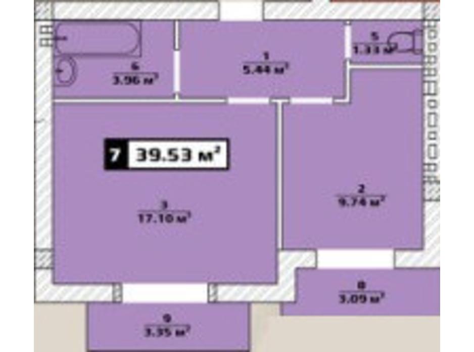 Планировка 1-комнатной квартиры в ЖК Паннония 39.53 м², фото 134481