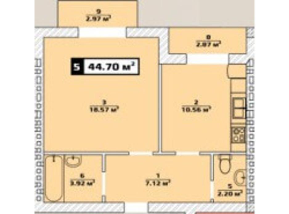 Планировка 1-комнатной квартиры в ЖК Паннония 44.7 м², фото 134482