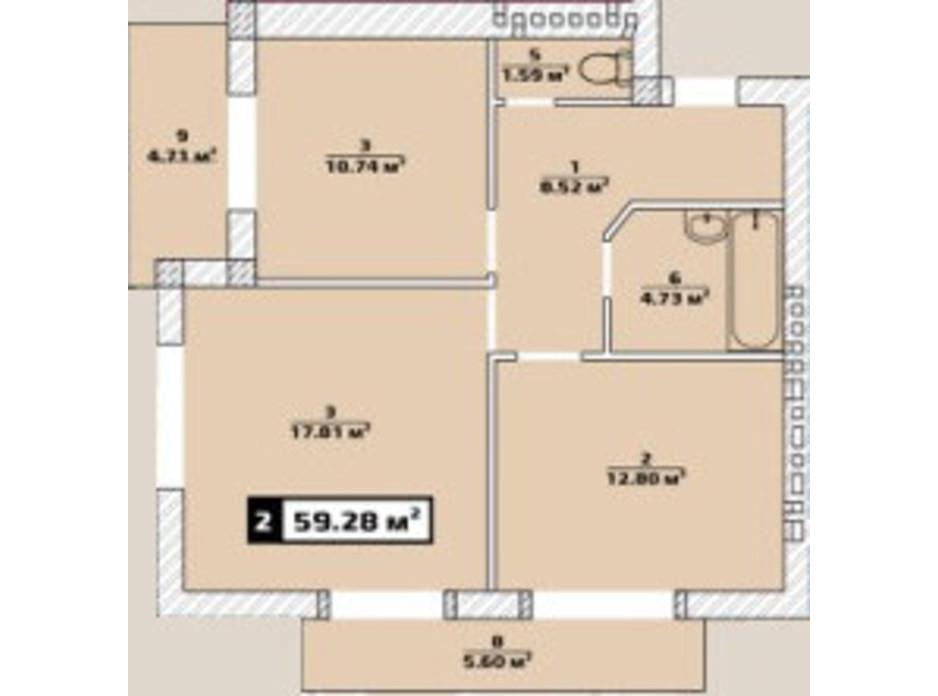 Планировка 2-комнатной квартиры в ЖК Паннония 59.28 м², фото 134485