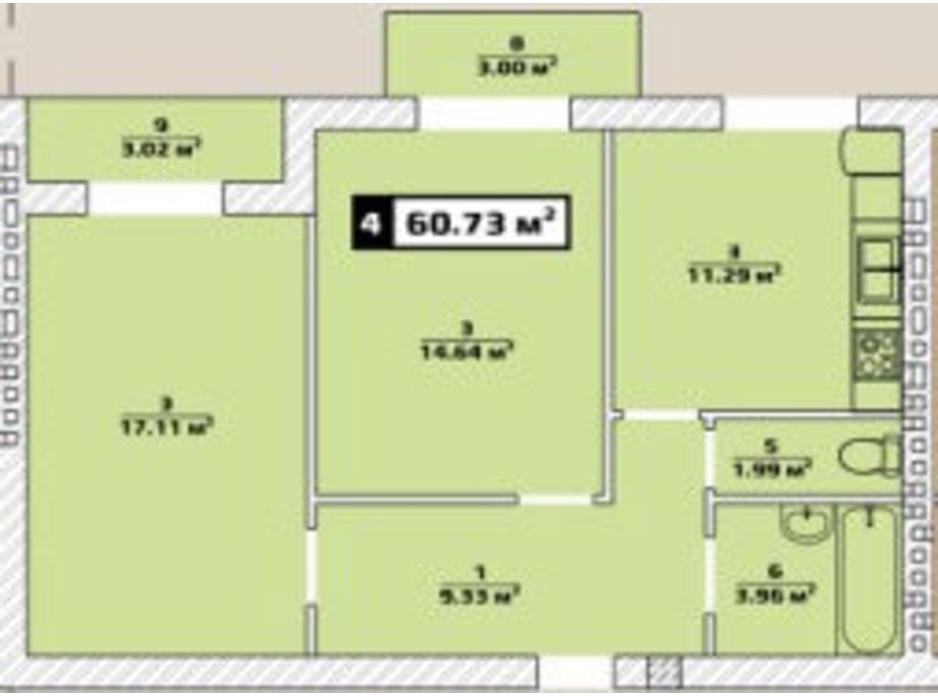 Планировка 2-комнатной квартиры в ЖК Паннония 60.73 м², фото 134486