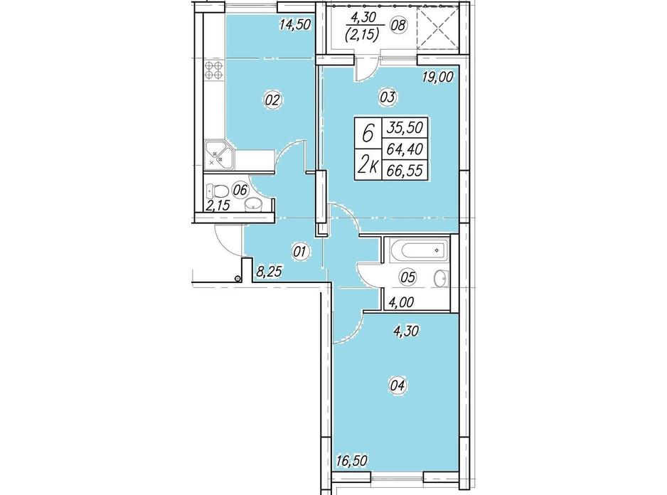 Планування 2-кімнатної квартири в ЖК Аквамарин 66.55 м², фото 134951