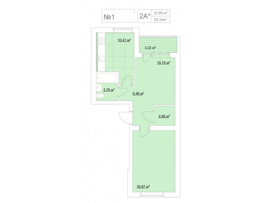 Планировка 2-комнатной квартиры в ЖК Гранд Виллас 53.1 м², фото 135230