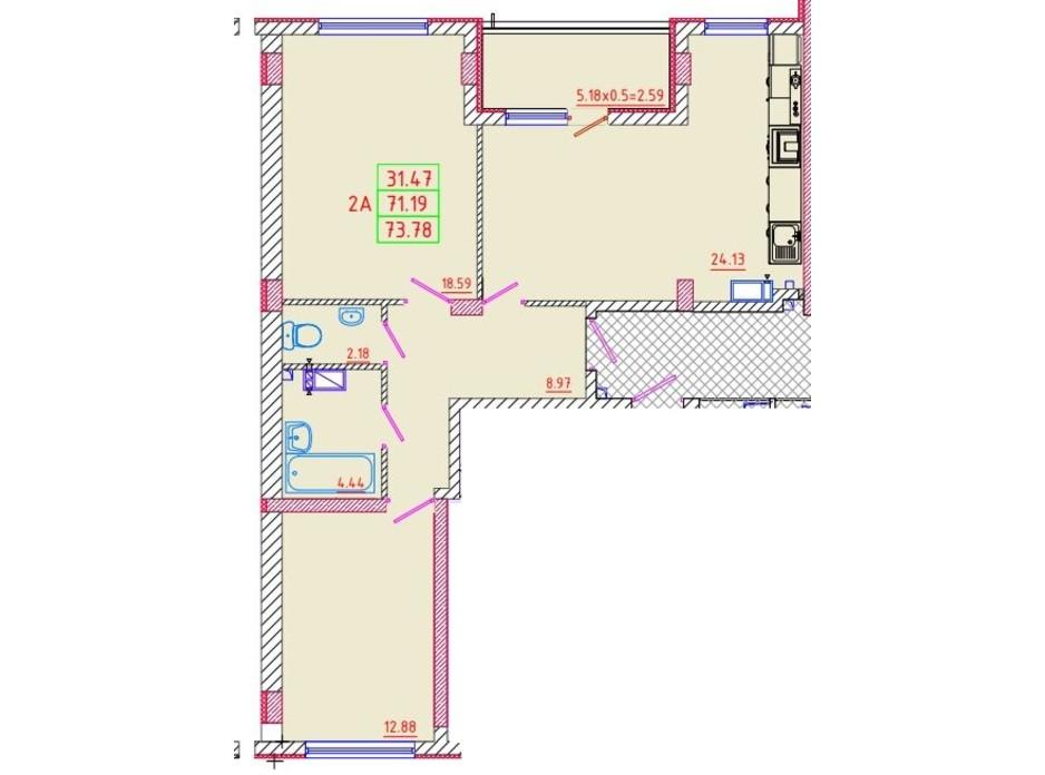 Планування 2-кімнатної квартири в ЖК Цветной бульвар 73.78 м², фото 135271
