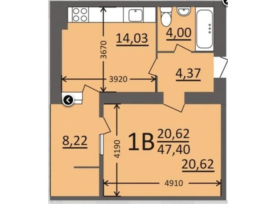 Планування 1-кімнатної квартири в ЖК Потьомкінський 47.4 м², фото 135680