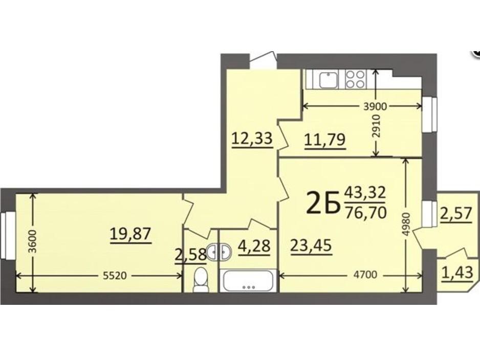 Планировка 2-комнатной квартиры в ЖК Потемкинский 76.7 м², фото 135686