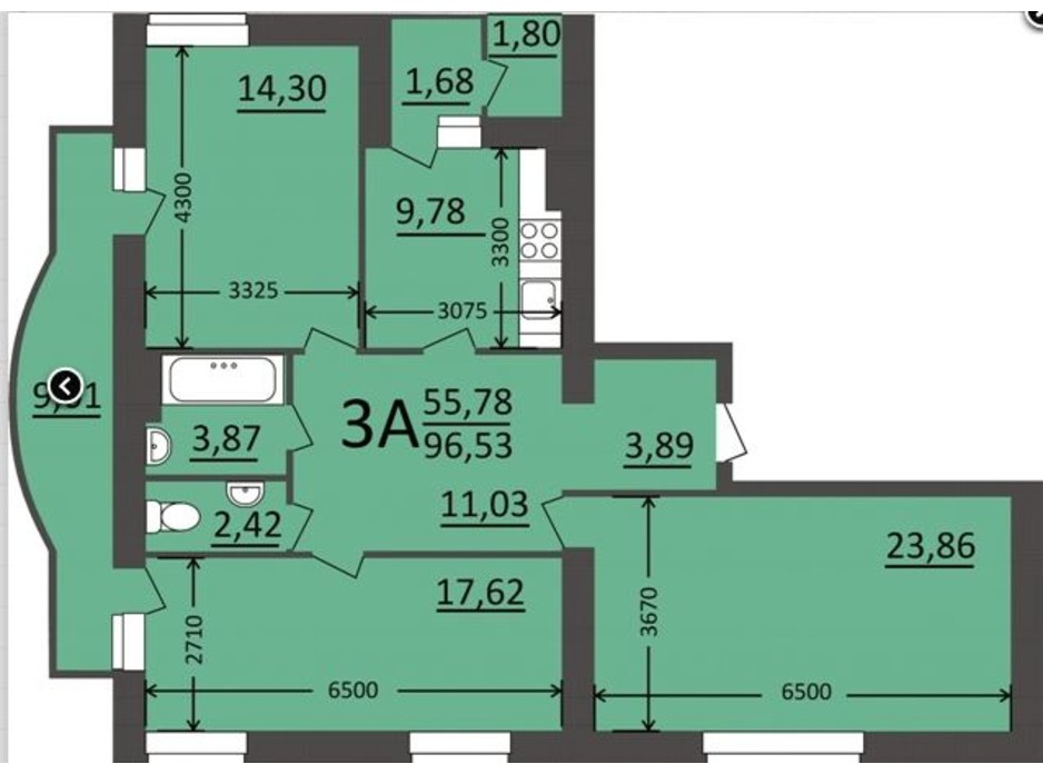 Планировка 3-комнатной квартиры в ЖК Потемкинский 96.53 м², фото 135690