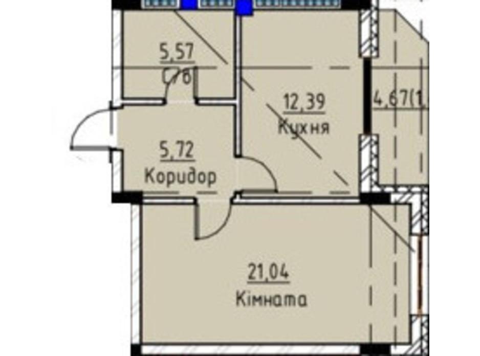 Планировка 1-комнатной квартиры в ЖК Графит 46.13 м², фото 136304