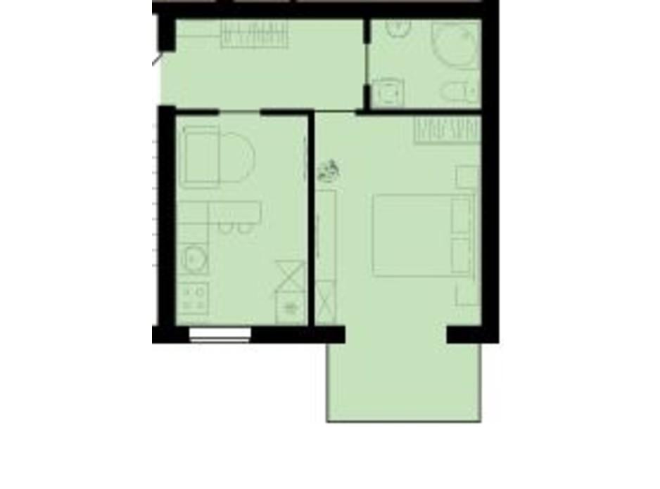 Планування 1-кімнатної квартири в ЖК Західний Олімп 38.7 м², фото 136493
