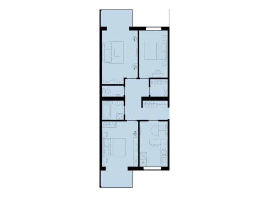 Планування 3-кімнатної квартири в ЖК Західний Олімп 78.3 м², фото 136499
