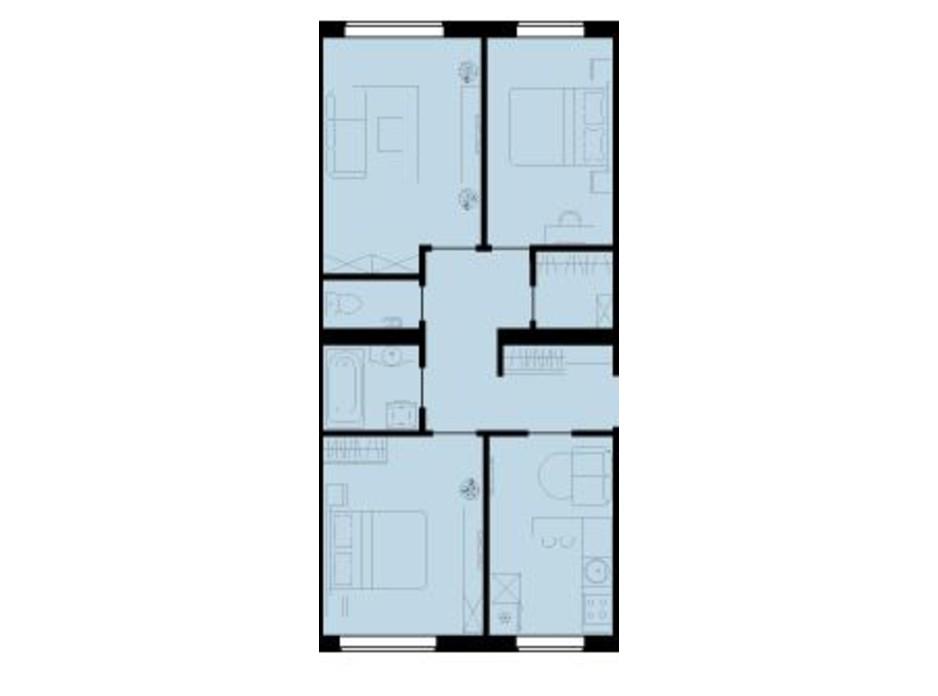 Планування 3-кімнатної квартири в ЖК Західний Олімп 67 м², фото 136505