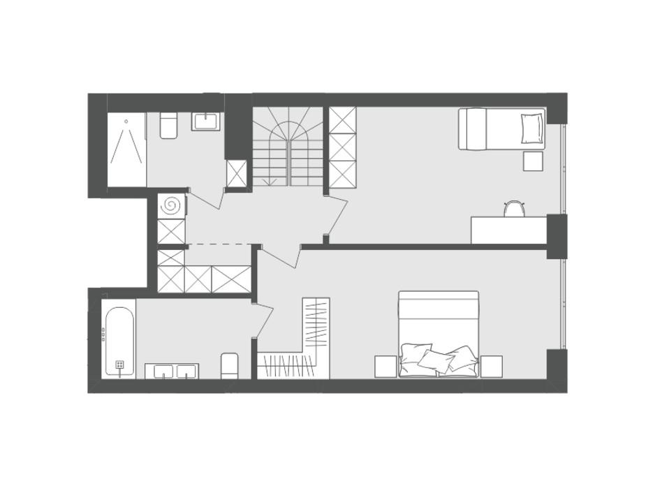 Планировка многоуровневой квартиры в ЖК Avalon Up 91.25 м², фото 137051