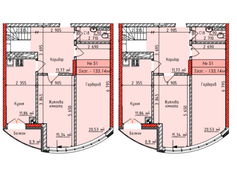 Планировка многоуровневой квартиры в ЖК Европейский квартал 129 м², фото 138619