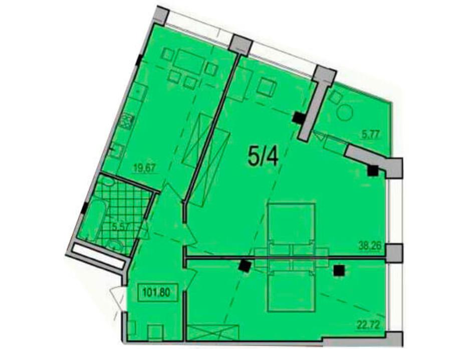 Планування 2-кімнатної квартири в ЖК Сomfort City 101.8 м², фото 138787