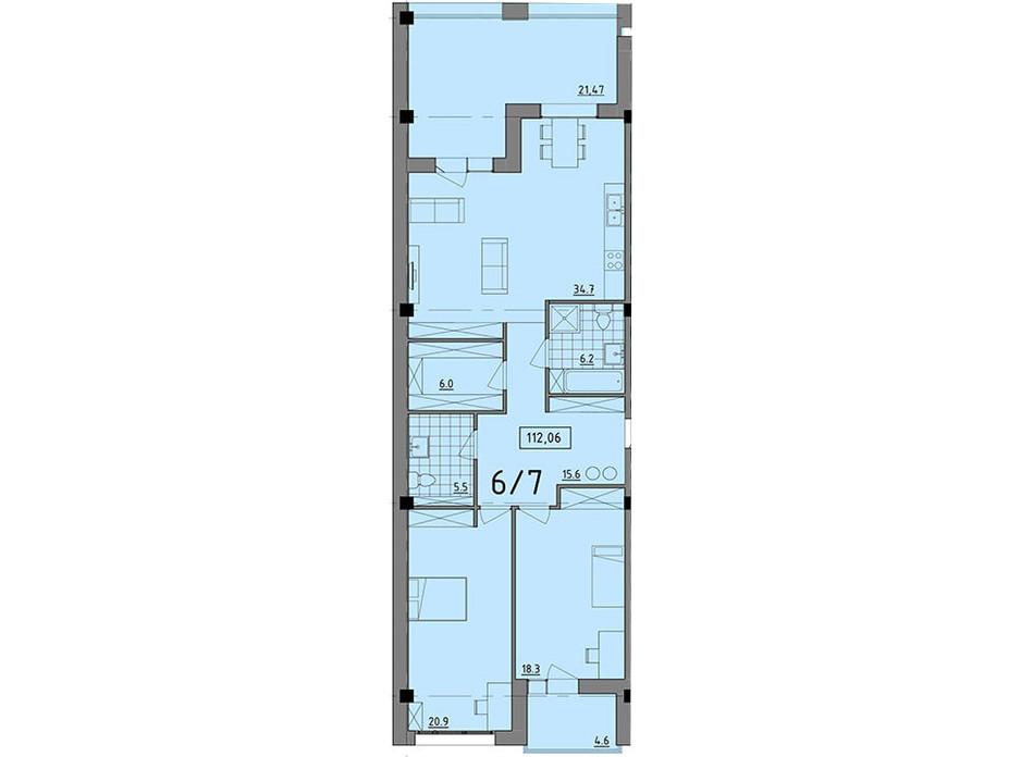 Планировка 2-комнатной квартиры в ЖК Сomfort City 112.06 м², фото 138789