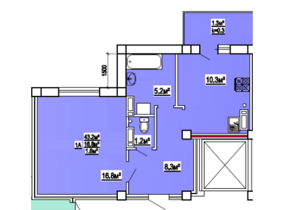 Планування 1-кімнатної квартири в ЖК по вул. 3-й мікрорайон 8 43 м², фото 139470