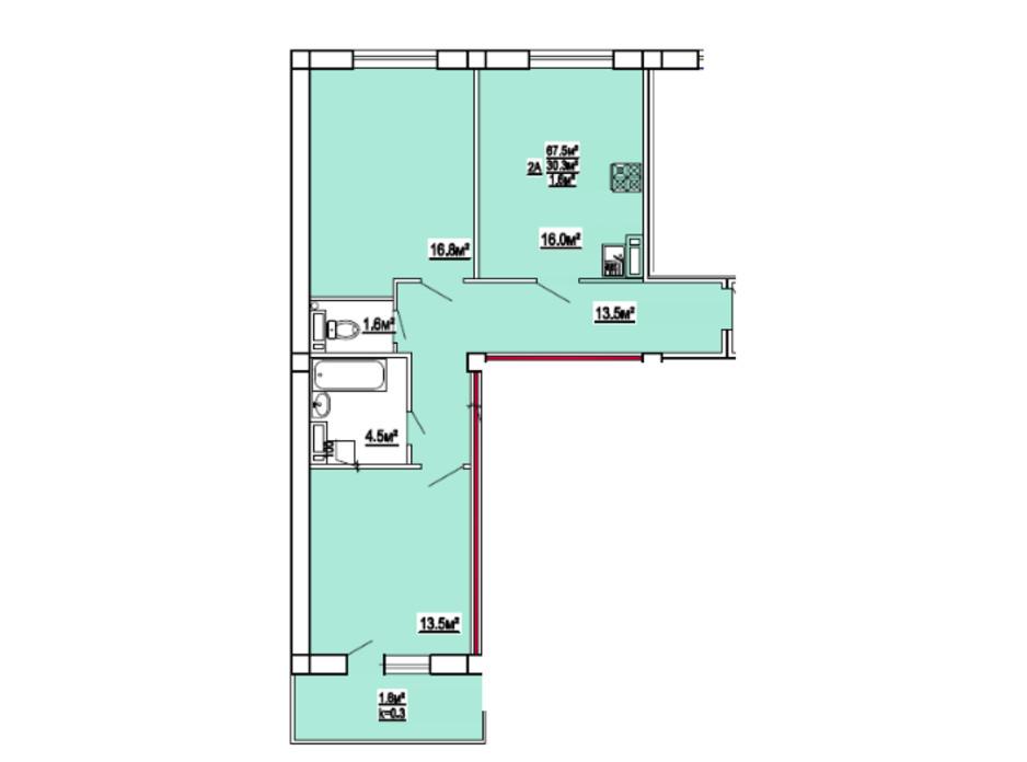 Планування 2-кімнатної квартири в ЖК по вул. 3-й мікрорайон 8 67.5 м², фото 139472