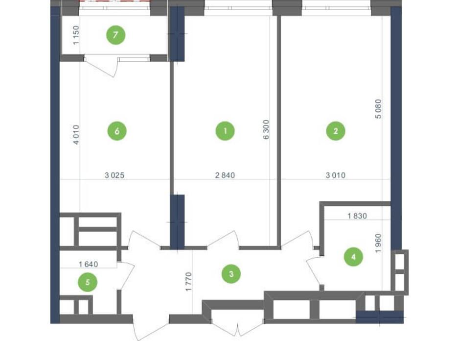 Планування 2-кімнатної квартири в ЖК «Метрополіс» 68.68 м², фото 139780