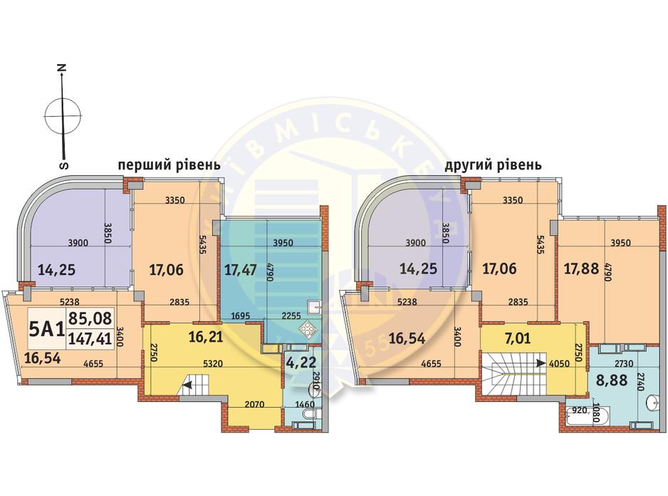 Планування 5-кімнатної квартири в ЖК Абрикосовий 147.41 м², фото 140045