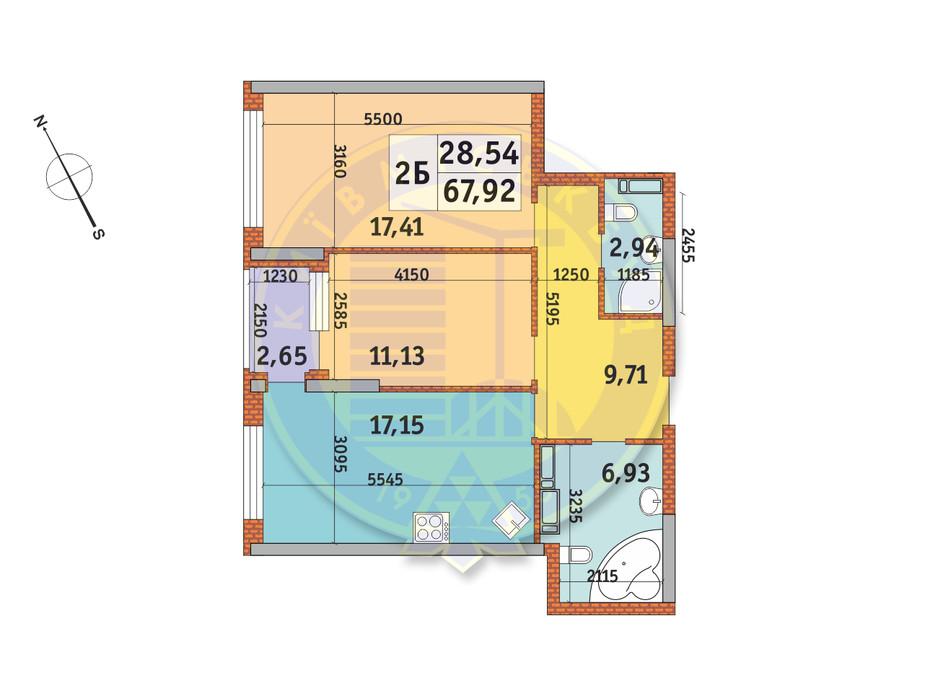 Планування 2-кімнатної квартири в ЖК Урлівський-1 67.92 м², фото 140183