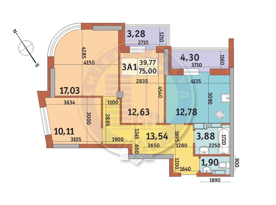 Планування 3-кімнатної квартири в ЖК Медовий-2 75 м², фото 140574