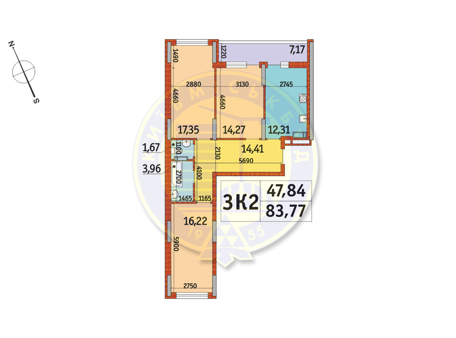 Планировка 3-комнатной квартиры в ЖК Отрада 83.77 м², фото 140771