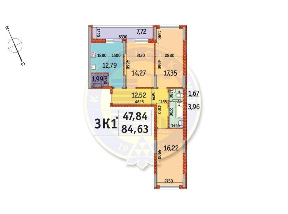 Планування 3-кімнатної квартири в ЖК Отрада 84.63 м², фото 140774