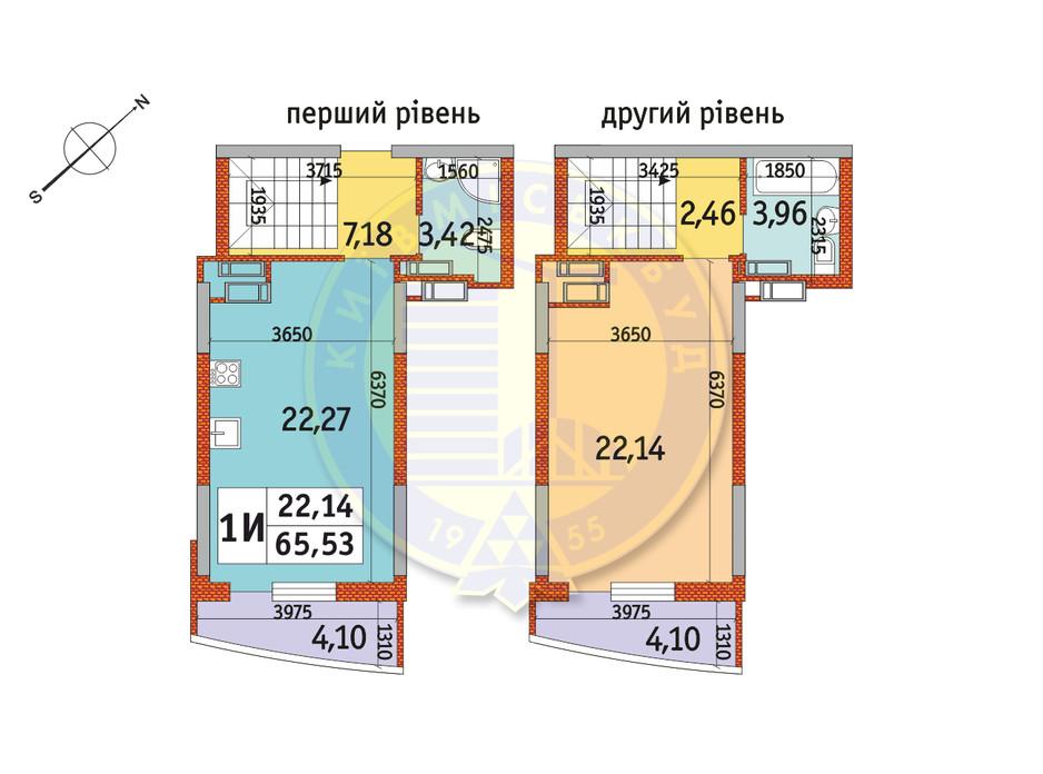 Планування 1-кімнатної квартири в ЖК Райдужний 65.53 м², фото 141495