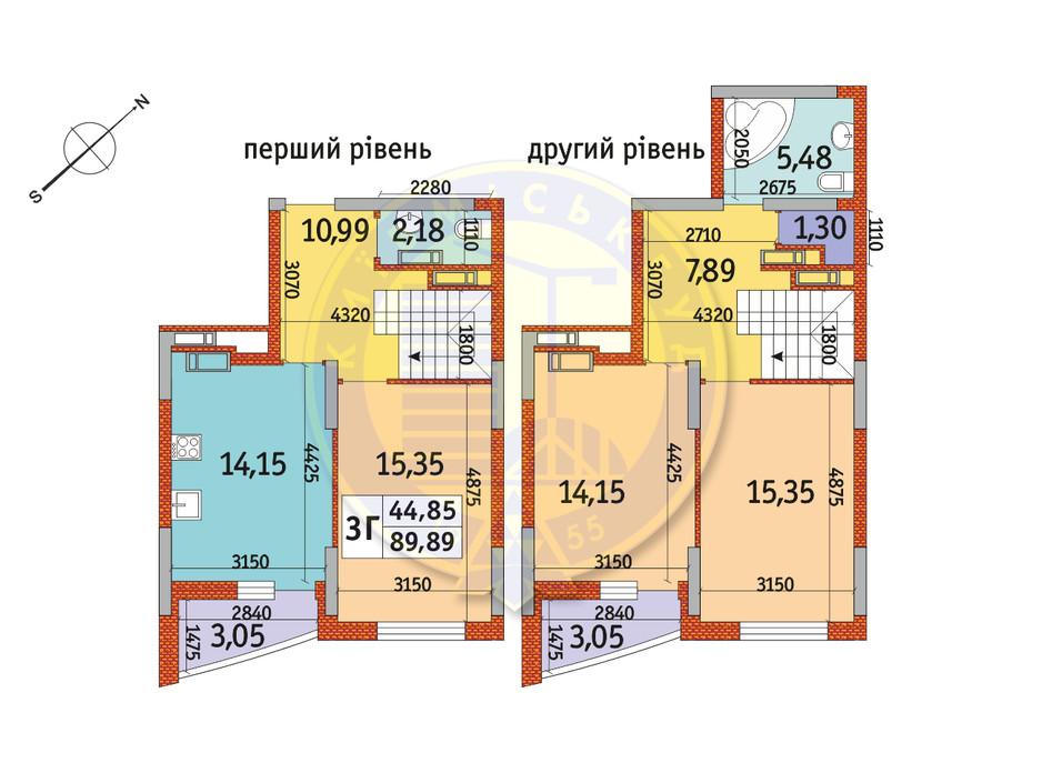 Планування 3-кімнатної квартири в ЖК Райдужний 89.89 м², фото 141502