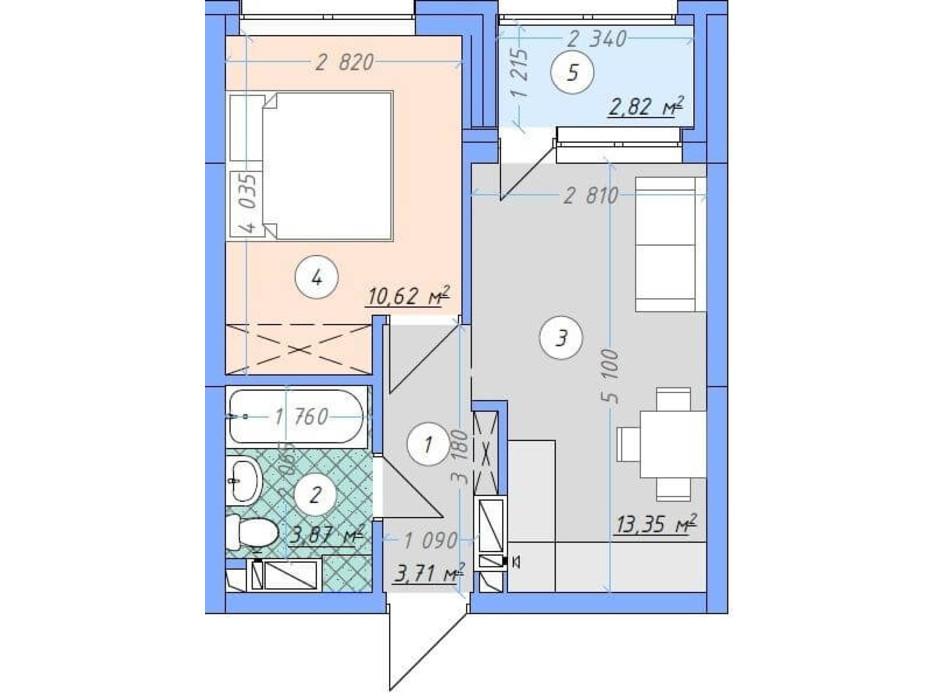 Планировка 1-комнатной квартиры в ЖК Sky Avenue 34.37 м², фото 142155