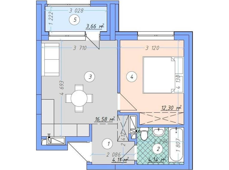 Планировка 1-комнатной квартиры в ЖК Sky Avenue 40.79 м², фото 142157
