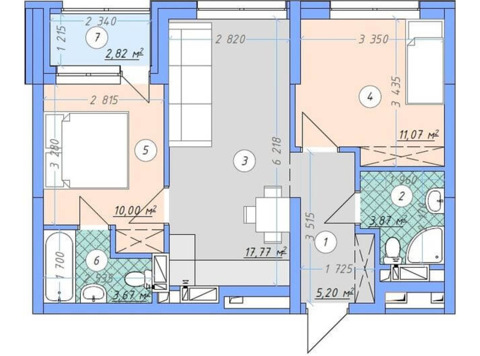 Планировка 2-комнатной квартиры в ЖК Sky Avenue 54.4 м², фото 142158