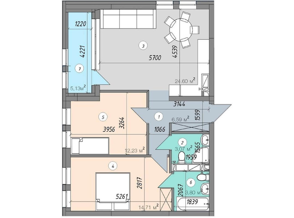 Планировка 2-комнатной квартиры в ЖК Sky Avenue 70.13 м², фото 142159