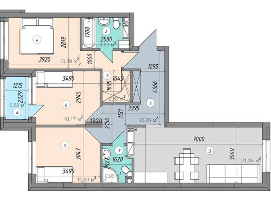 Планировка 3-комнатной квартиры в ЖК Sky Avenue 78.73 м², фото 142160