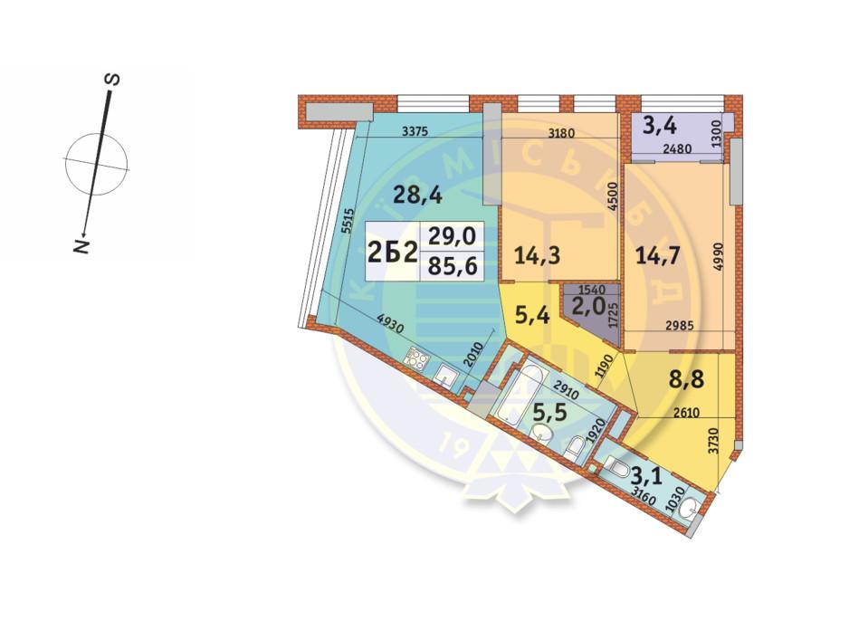 Планування 2-кімнатної квартири в ЖК Manhattan City (Маехеттен Сіті) 85.6 м², фото 145331