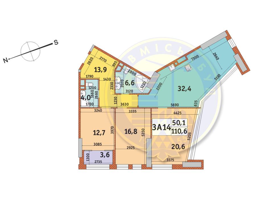 Планування 3-кімнатної квартири в ЖК Manhattan City (Маехеттен Сіті) 110.6 м², фото 145334